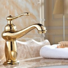 цена на Bathroom Faucet Golden Brass Basin Faucet. Bathroom Mixer Tap Deck Mounted basin sink Mixer Tap Kgf043