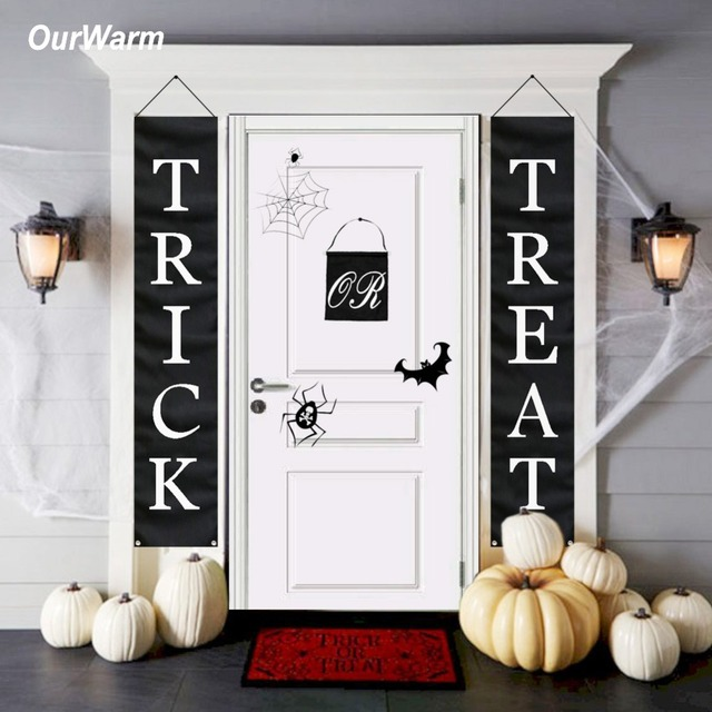 OurWarm 1set Trick or Treat Halloween Banner Black Flag Door Sign Decoration Home or Office Outdoor Decor Halloween Decoration