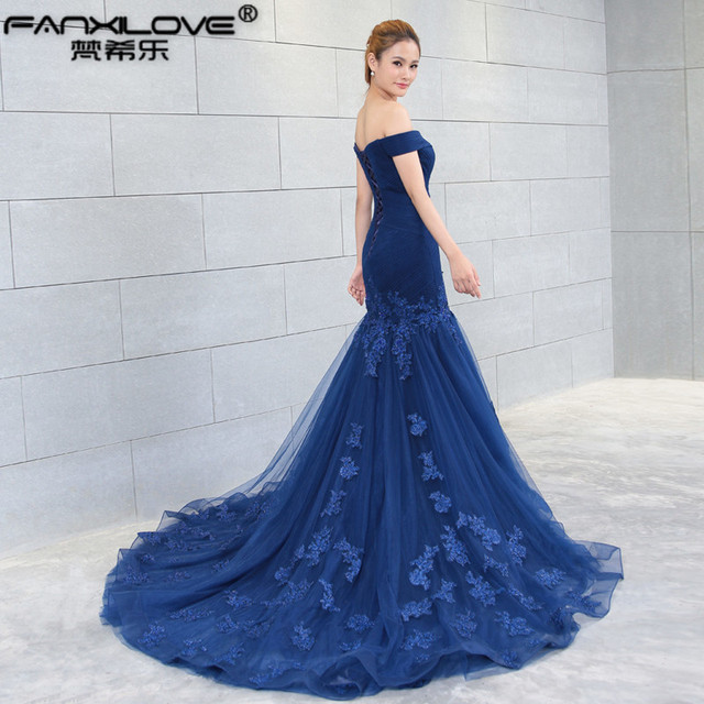 2017 bride toast to off shoulder serene fish tail wedding blue dress long  section of the banquet was thin waist 1b9d0b8f29b7
