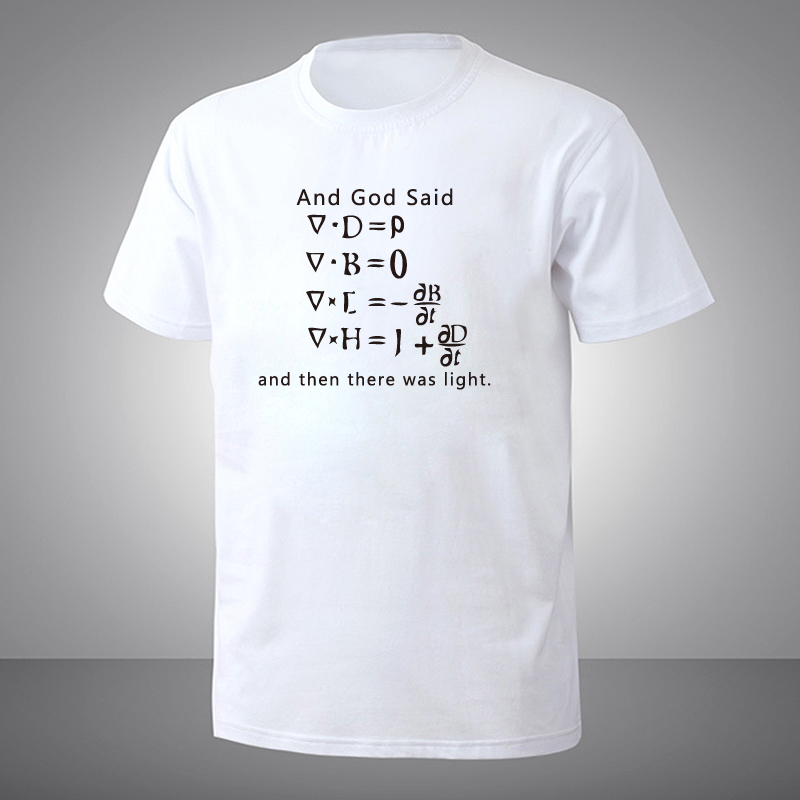 Funny God Said Maxwell Equations and Then There Was Light T Shirt Short Sleeve T-shirts  ...