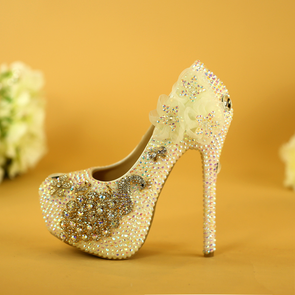 Wedding Shoes Crystal Rhinestone High-heeled Shoes Woman Peacock Bride Shoes Evening Dress Single Shoes Plus Size Pumps Ladies romyed bridals wedding shoes kim kardashian pumps superstar shoes top quality flowers evening christian shoes size 4 16 shofoo