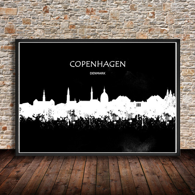 Modern abstract city painting copenhagen denmark watercolor art print poster wall sticker living room cafe home