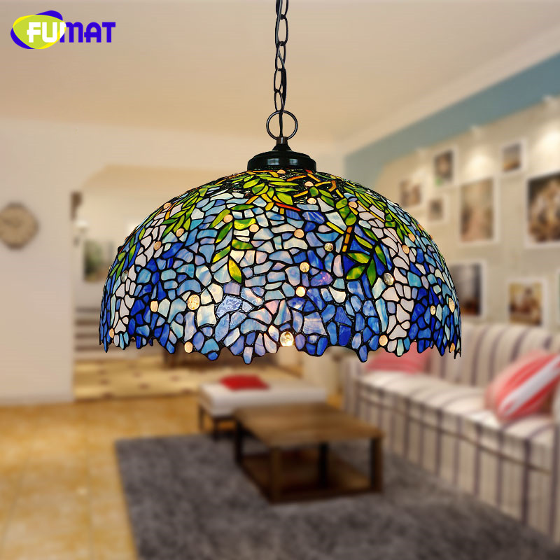 FUMAT Stained Glass Pendant Light Art Blue Wisteria Glass Shade Lights Creative Pastoral Living Room Restaurant Pendant Lamps fumat stained glass pendant lamps european style glass lamp for living room dining room baroque glass art pendant lights led