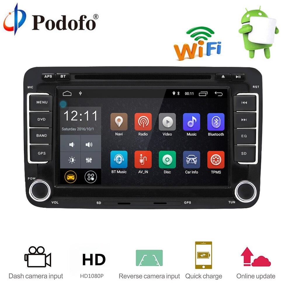 Podofo 2 Din Autoradio GPS Navigation Autoradio Android 7.1 Tactile écran Wifi Bluetooth Voiture Lecteur Audio De Voiture radio USB FM Lecteur