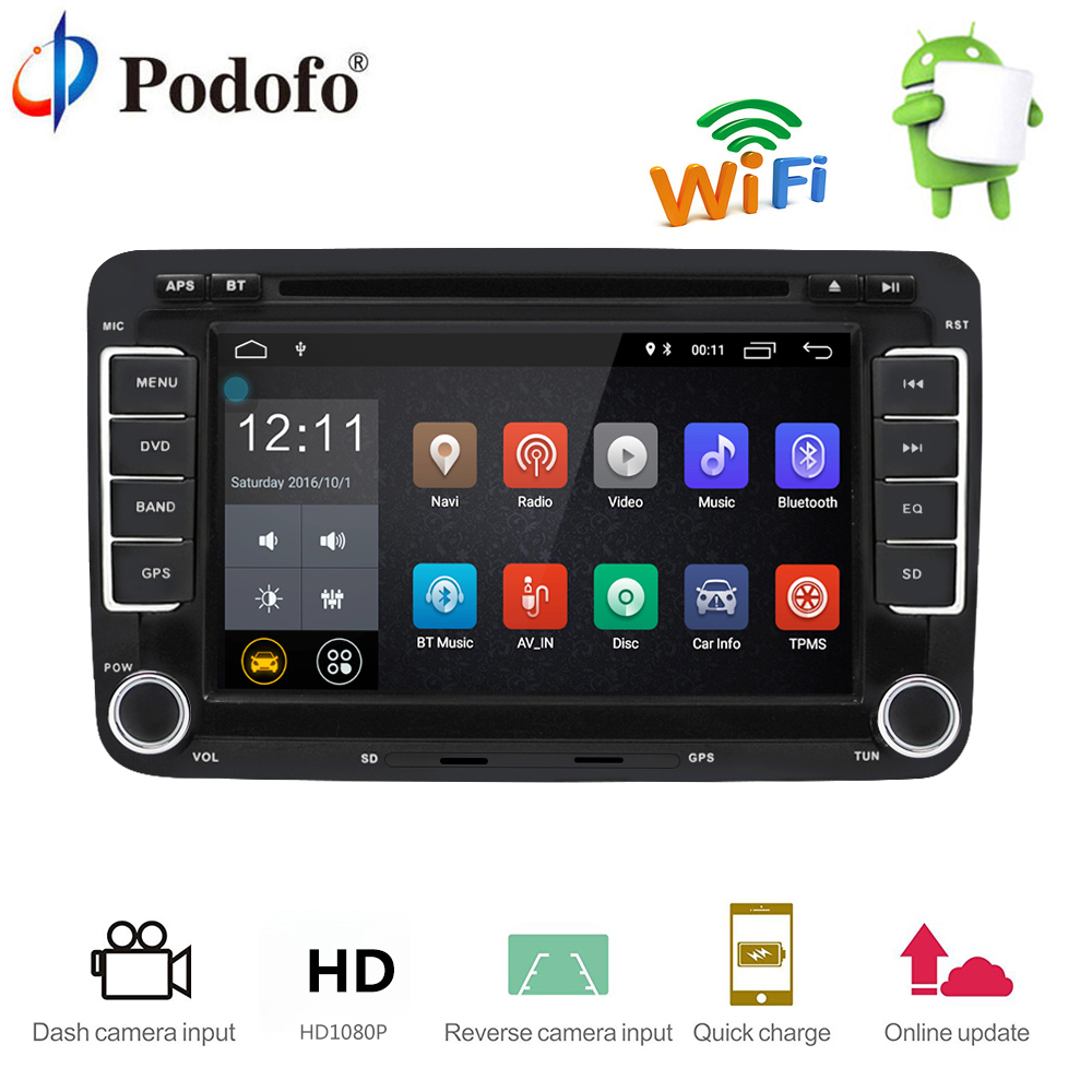Podofo 2 Din Car Radio GPS Navigation Autoradio Android 7.1 Touch Screen Wifi Bluetooth Car Audio Player Car radio USB FM Player