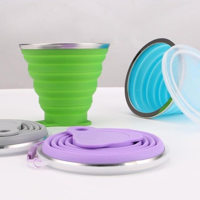 270 ml 여행 컵 스테인레스 스틸 실리콘 접이식 접이식 컵 텔레스코픽 접이식 커피 컵 야외 스포츠 워터 컵