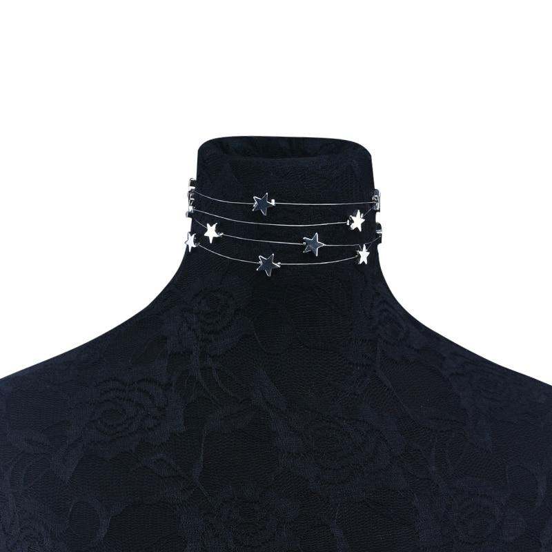 Višestruki slojevi bakra zvijezde privjesak choker ogrlica nakit - Modni nakit - Foto 4