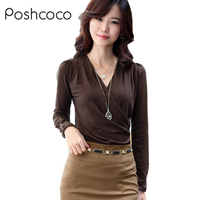 2015 Spring And Autumn New Shirt Size Slim Solid Thin V All Match Coat Collar Women