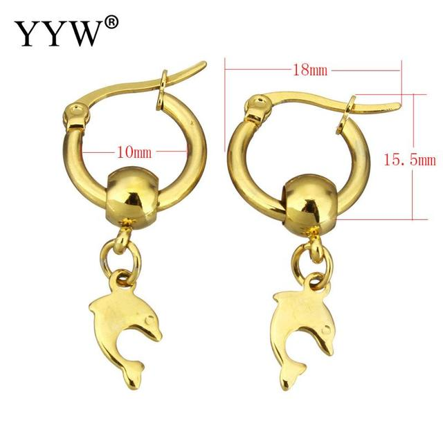 Yyw Gold Color Stainless Steel Lever Back Circle Earring Women Jewelry Lovely Animal Dolphin Drop