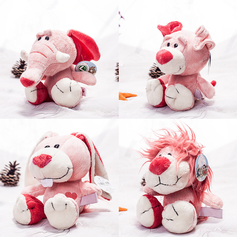 1pc 20cm cute pink NICI elephant rabbit lion dog plush toy stuffed soft cute animal toys cartoon appease doll for children gift super cute 1pc 33cm cartoon molang christmas wapiti rabbit bunny soft plush doll stuffed toy children valentine s day gift