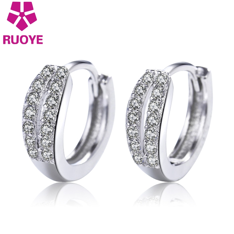 RUOYE Fashion Women Stud Earring Quality Double Row Simple Earring For Women Silver Ear Jewelry