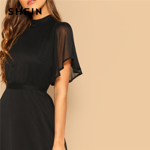 Image 5 - SHEIN Glamorous Black Mock neck Knot Back Sheer Panel Dress 2019 Spring A Line Butterfly Sleeve Stand Collar Elegant Dresses