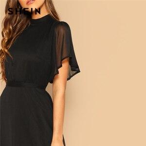 Image 5 - SHEIN Glamorous Schwarz Mock neck Knoten Zurück Sheer Panel Kleid 2019 Frühling EINE Linie Schmetterling Hülse Stehkragen Elegante kleider