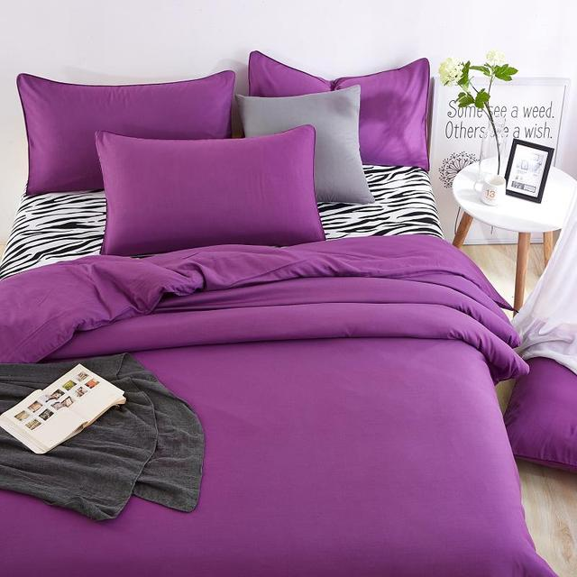 Purple Color Zebra Desig Factory Bedding Set Price Best Quality Duvet Cover Flat Sheet Pillowcase