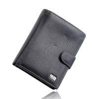 FREE SHIPPING High Quality Mens Gentleman Black Large Bifold Genuine Real Leather Wallet Credit ID Card