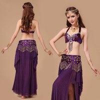 2017 Belly Dance Costume S M L 3pcs Bra Belt Skirts Sexy Dancing Women Dance Clothes