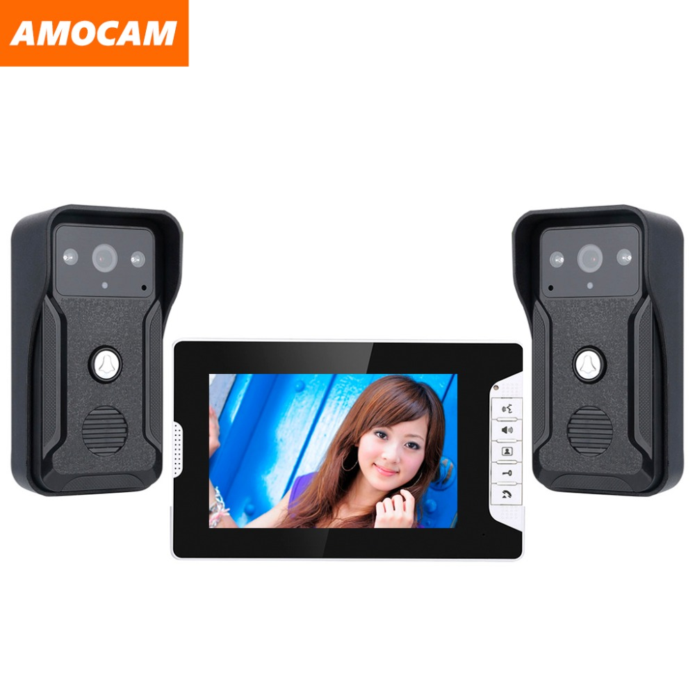 7 Inch Screen Wired Video Intercom Doorbell System Video Door Phone Ir Night Vision Camera For Villa Home 1-Monitor 2-Camera
