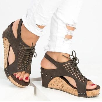2634af50 Sandalias de plataforma cuñas zapatos para Mujer tacones Sandalias Mujer  zapatos de verano Clog mujeres alpargatas gladiador mujeres Sandalias 2019