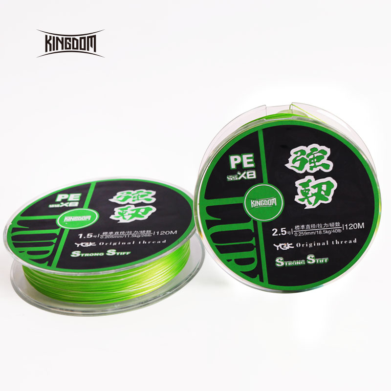Kingdom fishing line Super Strong 120m 8 Strands Weaves PE Braided 14LB 18LB 26LB 33LB 40LB 47LB lines multifilament for fishing