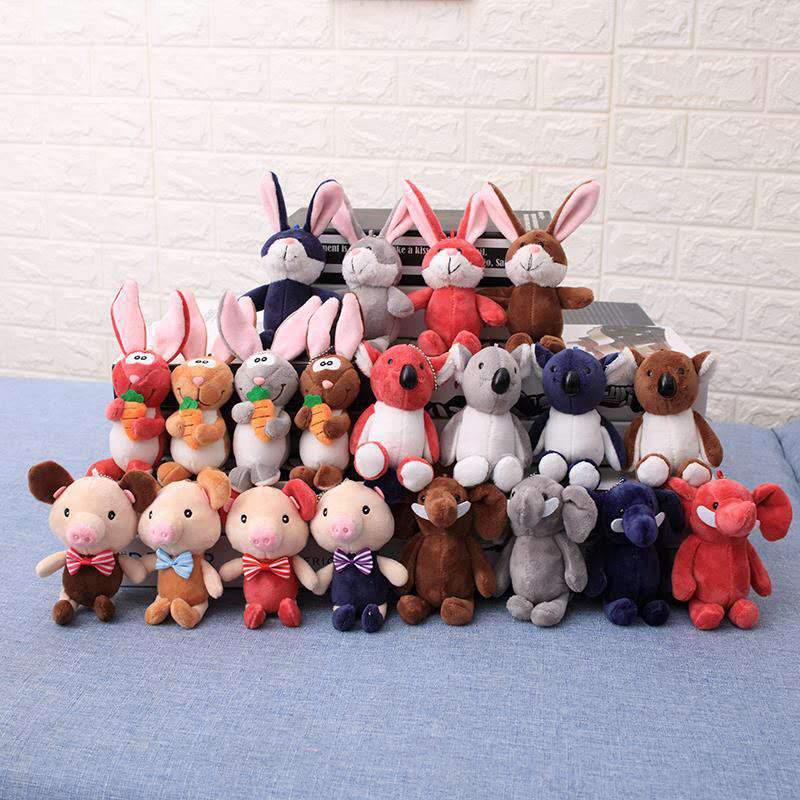 12cm Cute Rabbit Dinosaur Plush Toys Soft Stuffed Animals Mini Rabbit Bag Pendant Plush Dolls Key Chain For Children Girls Gift