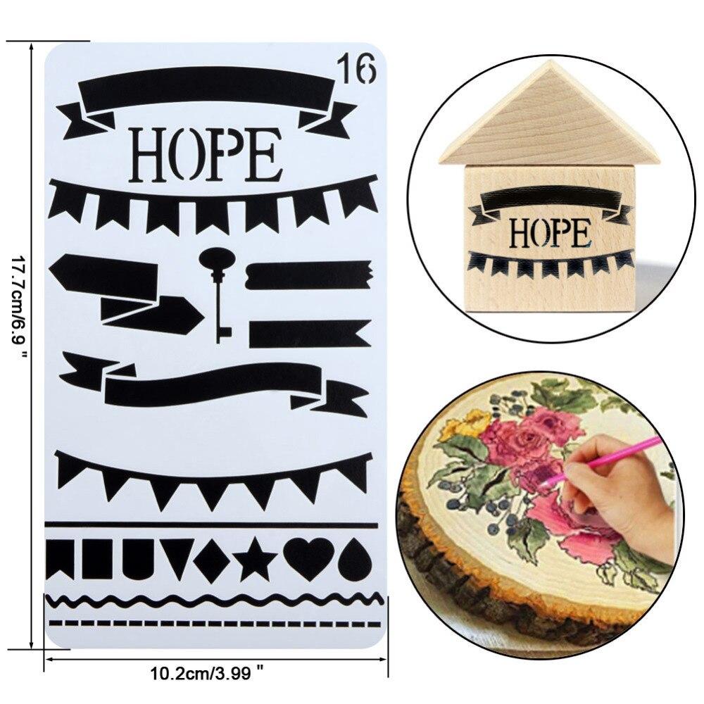 12 Pcs/set Journal Stencil Set Plastic Planner DIY Drawing Template Diary