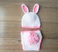 จัดส่งฟรี,น่ารักสีขาวกระต่ายกระต่ายหมวกและผ้าอ้อมปกชุด0-3