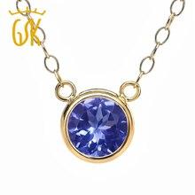 GemStoneKing 0.46 Ct Round Blue Tanzanite Pendant 14K Yellow Gold Necklace Women Vintage Jewelry
