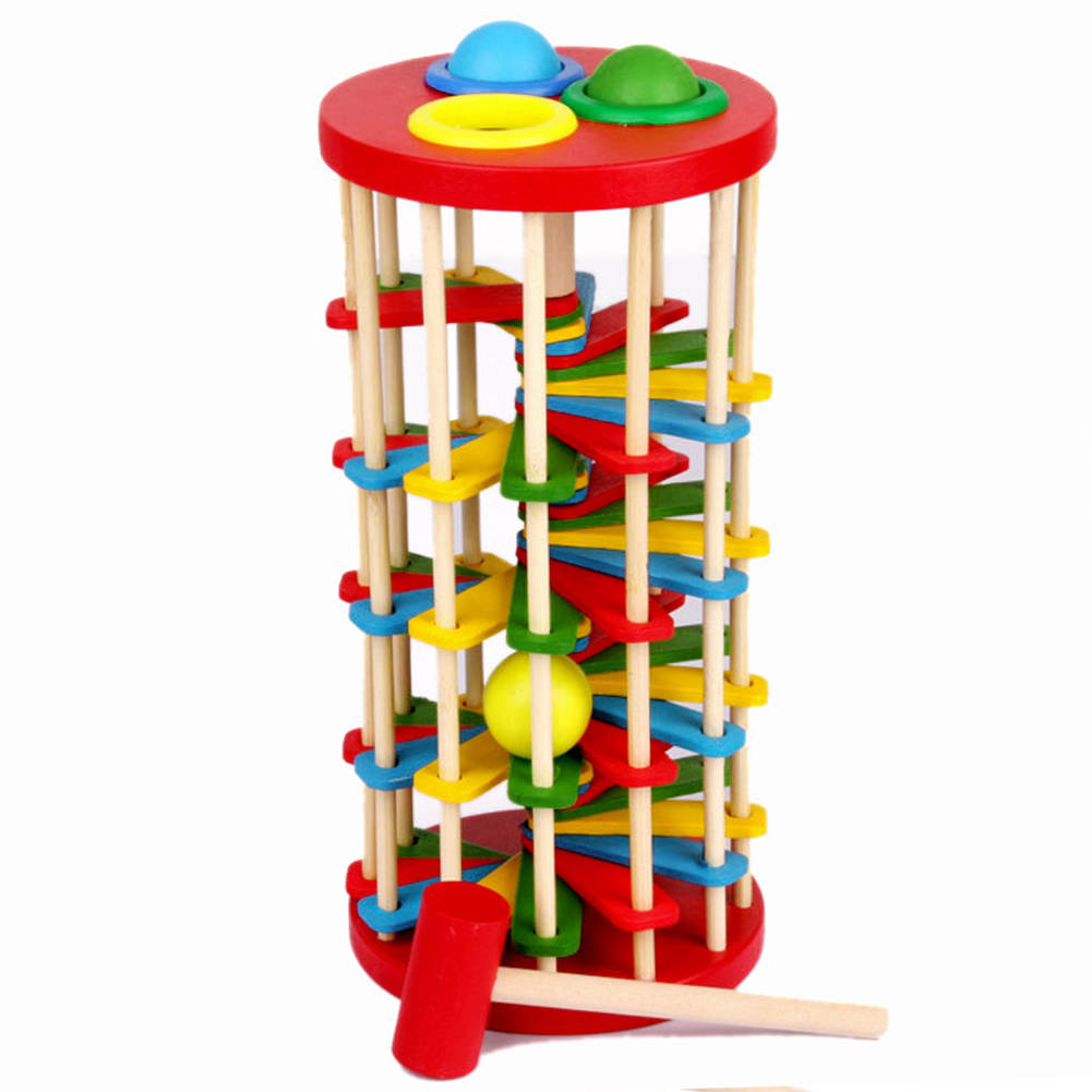 Knock Ball The Ladder Deluxe Pound And Roll Tower Creativity Developing Wooden Toys Child Multifunction Educational Toys Gift 2017 montessori education baby wood knocking ball ladder pound and roll tower kids puzzle early educational wooden toys set mz23