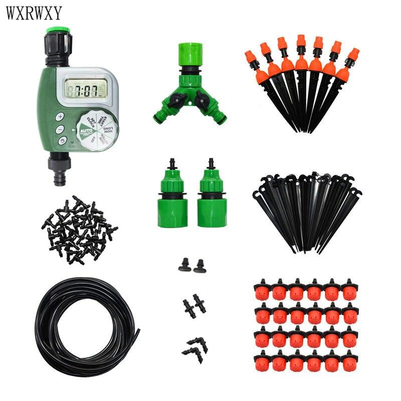 Wxrwxy jardín sistema de riego por goteo riego automático jardinería sistema kit de herramientas LCD temporizador automático riego 1 Unidades