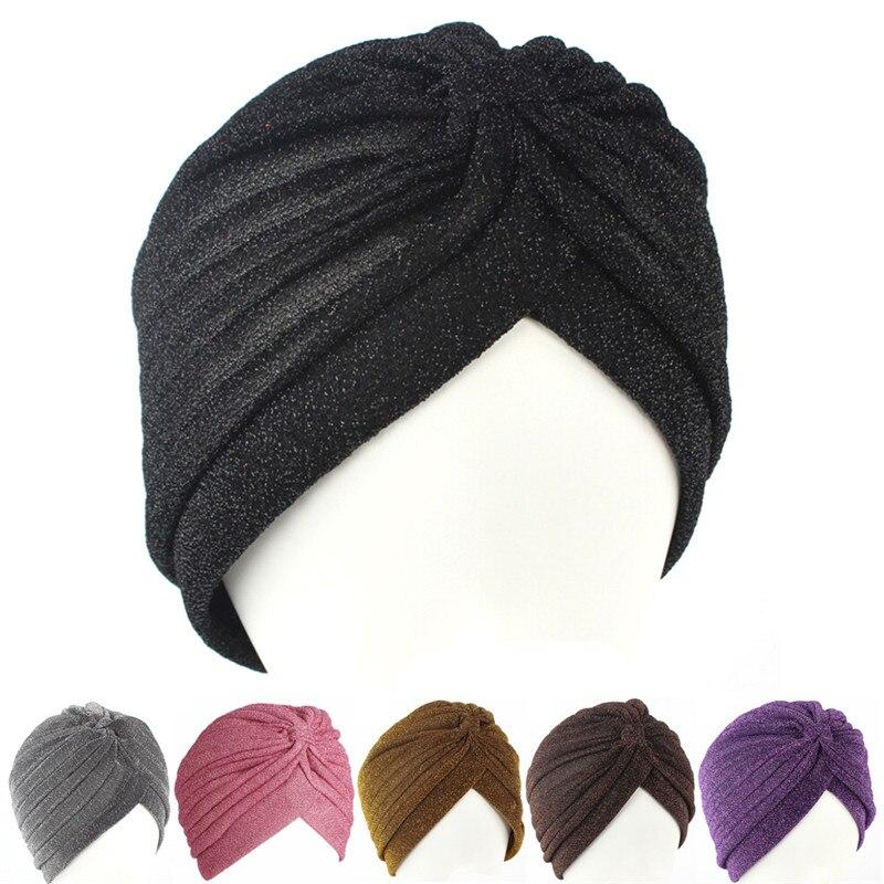 Soft Indian Style Bright Silk Hat Muslim Turban Hat Women Stretchy Turban Adult Hat Head Wrap Bandanas Chemo Cap
