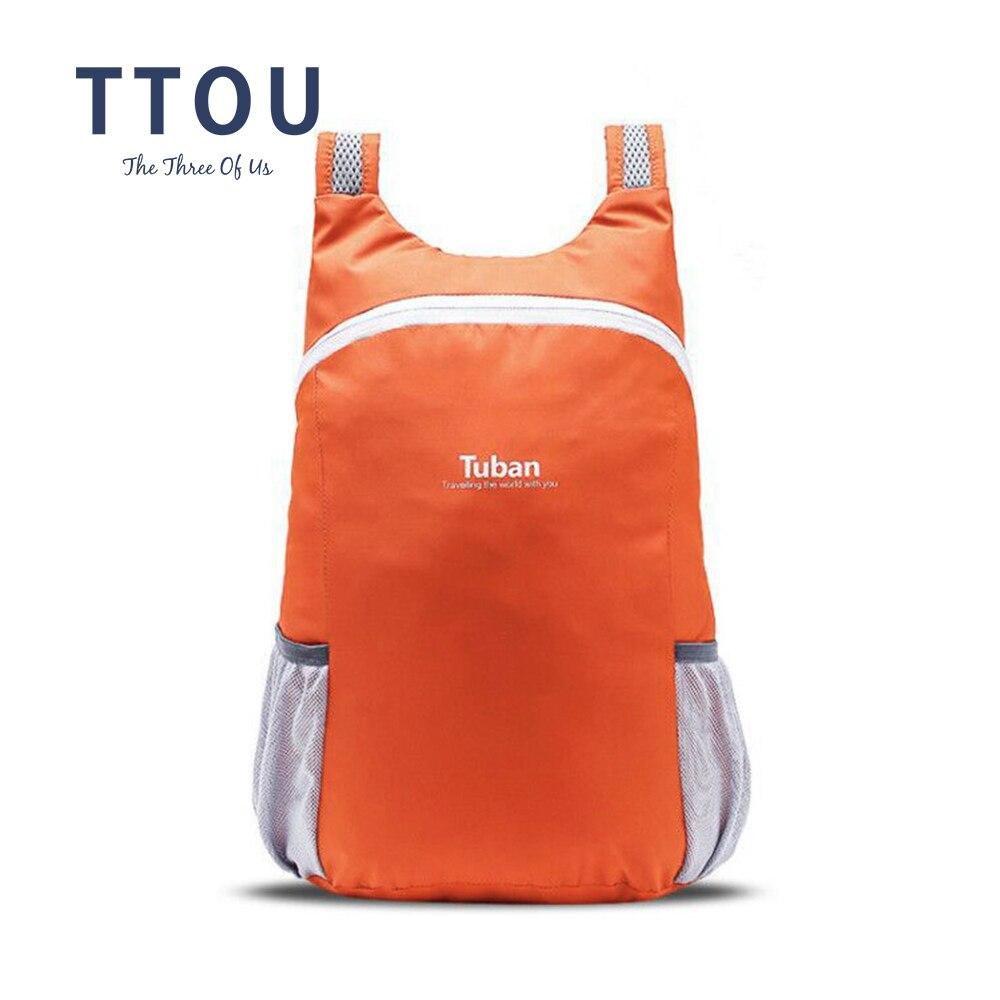 TTOU Lightweight Nylon Foldable Backpack Waterproof Backpack Folding Bag Portable Men Women Backpack for Travel men nylon satchel backpack