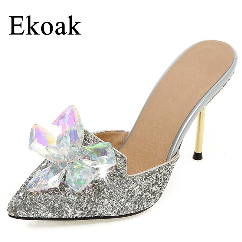 Ekoak New 2018 Summer Women Shoes Sexy Crystal Party Shoes Fashion Bling Women Sandals Ladies High Heels Shoes Woman ekoak new 2018 summer shoes woman fashion crystal women sandals ladies wedges platform shoes woman party shoes gladiator sandals