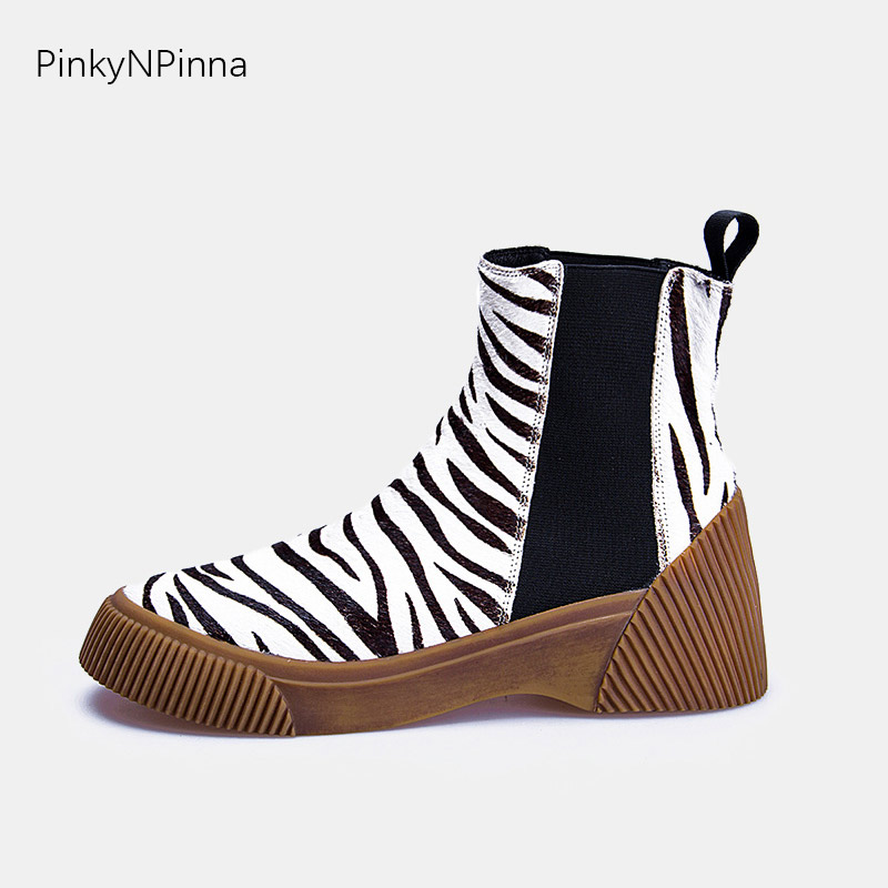 Luxury women 39 s horse hair genuine leather zebra leopard print ankle boots Chelsea booties thick flat non slippery winter shoes in Ankle Boots from Shoes