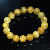 Natural Genuine Yellow Gold Hair Rutile Quartz Stretch Men's Bracelet Round Beads 12mm
