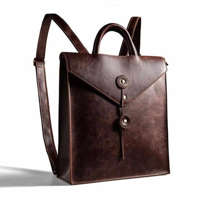 Водонепроницаемый 13 дюймов ноутбук рюкзак Для мужчин кожа A4 Docu Для  мужчин t рюкзаки Для мужчин d01540fbfac
