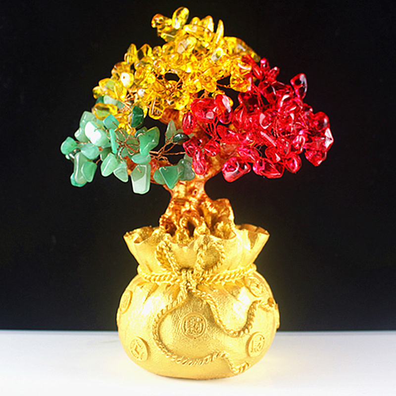 Wealth Luck Feng Shui Lucky Money Tree Mini Crystal Money Tree Bonsai Style Bring Wealth Luck Home Decor Birthday New Year Gift