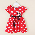 baby girl dress summer style cartoon mickey printing dots kids girl cute dress children clothing short sleeve red New designs