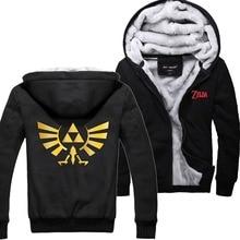 Game The Legend of Zelda Link Triforce Logo Hoodies Winter Fleece Super Warm Zip up Cotton Sweatshirts Coats
