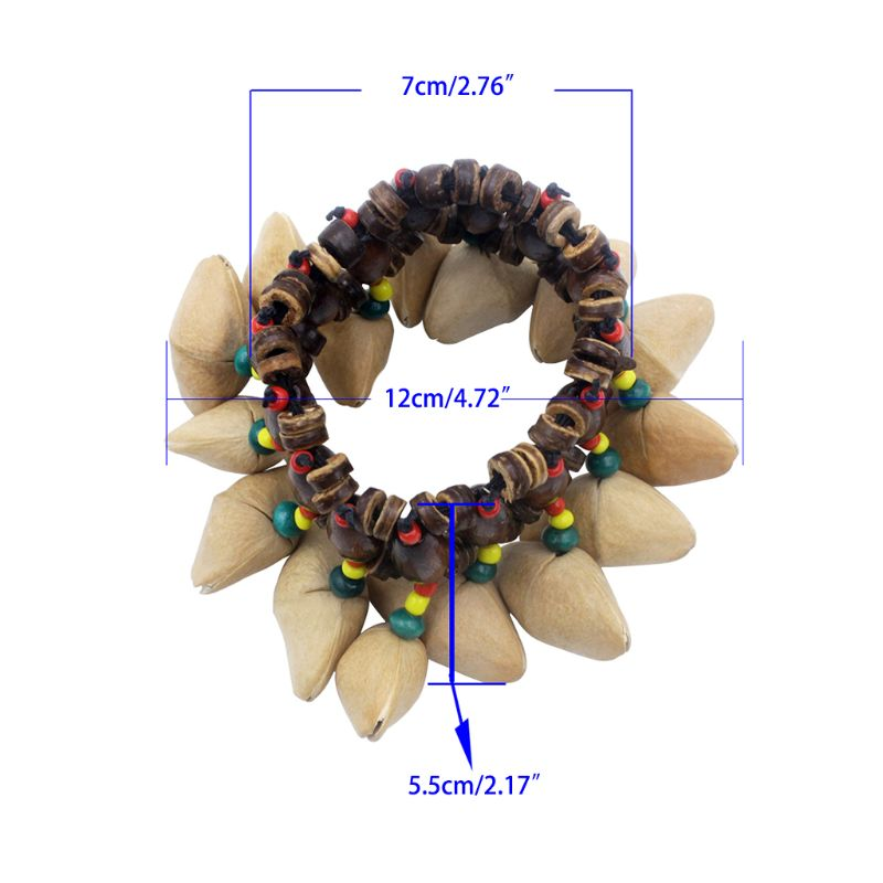 New Fashion Handmade Durable Nut Shell Hand Chain African Drum Drummer Bell  Instrument For Adult Children Qiang