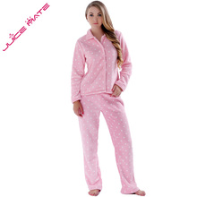 СОК MATE Женщины Пижамы Весна Осень Теплый Коралловый Флис Плюс размер Розовый Пижамы Костюм Ночное 2 Шт. Пижамы Набор Для дамы