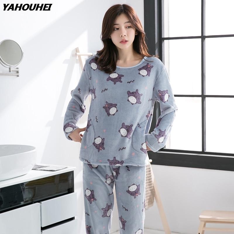 2019 Autumn Winter Flannel Pajama Sets for Women Thick Warm Homewear Long  Sleeve Pyjama Girls Cute cac69c890