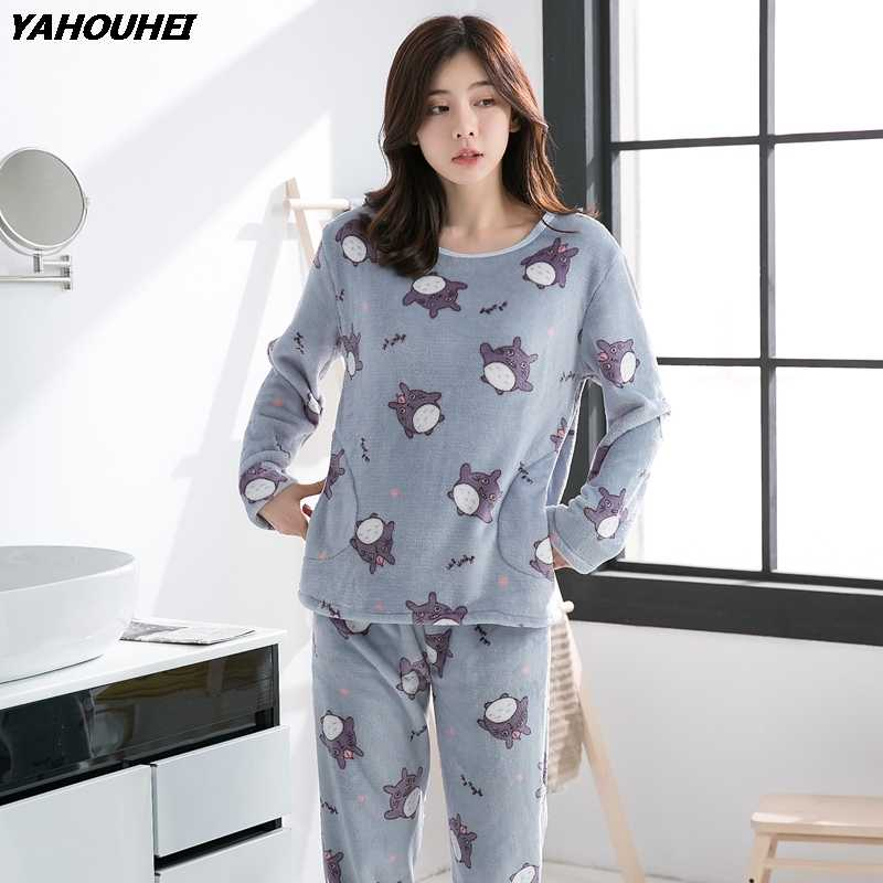 f39f4a46f6 2018 Autumn Winter Flannel Pajama Sets for Women Thick Warm Homewear Long  Sleeve Pyjama Girls Cute