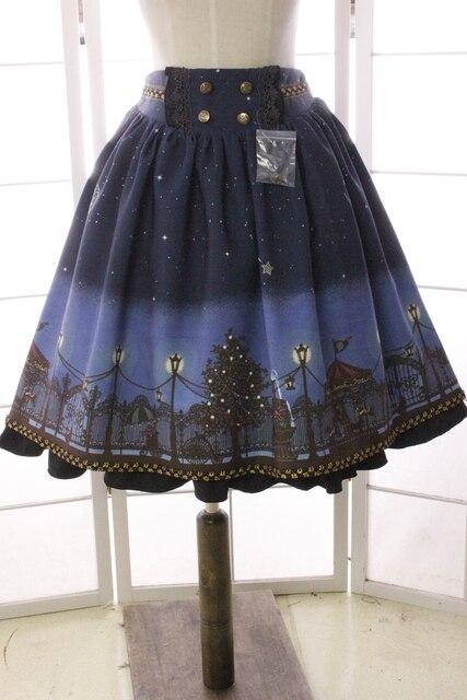2017 nueva falda corta sweet patio noche estrellada impreso un line falda lolita con volantes