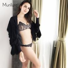 Munllure Ultra-thin Triangle Cup Seamless Cloth Bust Set Sexy Lace Bikini Underwear Female