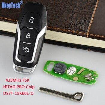 OkeyTech フォードモンデオ Edge S-マックスギャラクシー 2014-2018 スマートカードリモート車のキー 433 と HITAG プロチップ 3 ボタン包茎ブレード