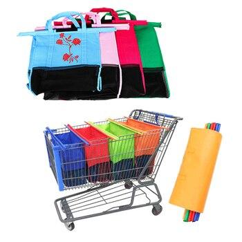 1/4 piezas de carro de compras carro bolsas plegables reutilizables de compras bolsa Eco bolsa de supermercado fácil de usar y de servicio pesado bolsas