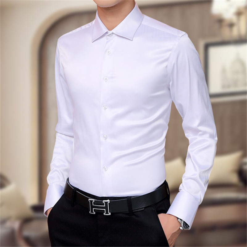 Tuxedo Shirts Silk Men Fashion Business Dress Shirt  2018 Plus Size Clothing Summer  3 Colors Solid