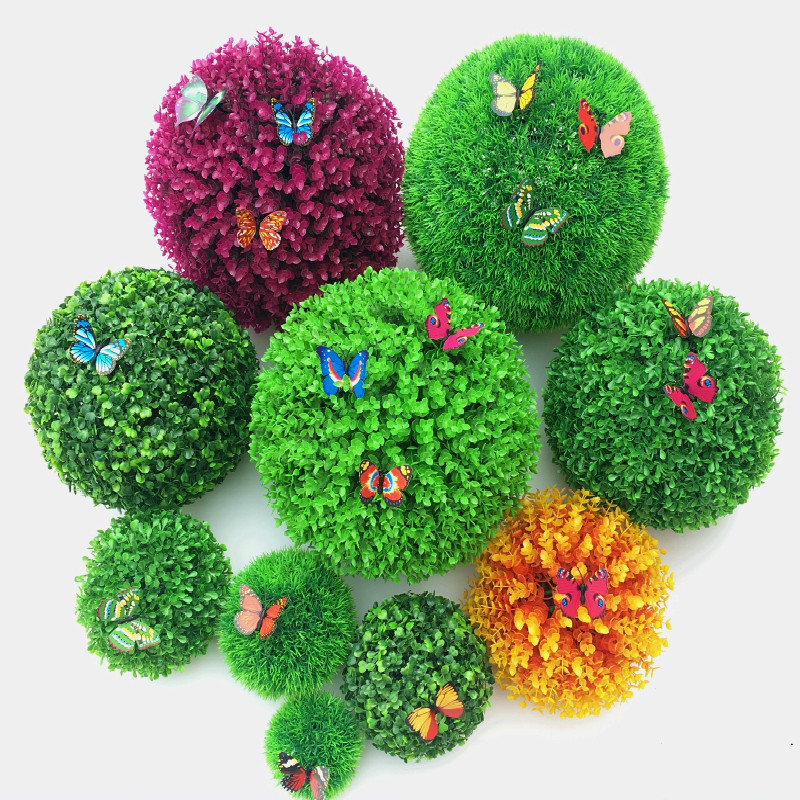 (3 size) Artificial Plant grass Ball Topiary Green Simulation Ball Mall Supplies Indoor Outdoor Wedding Party Home Decoration