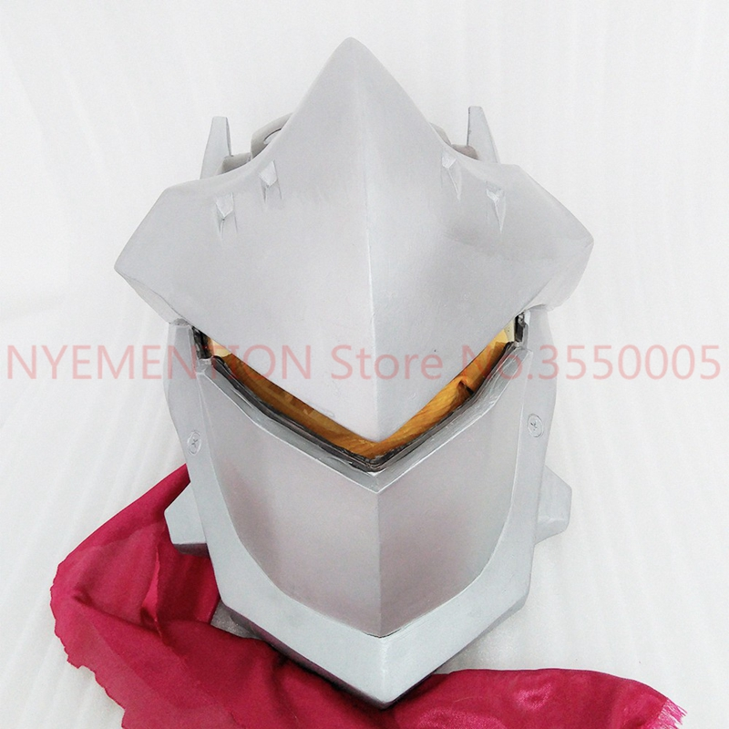 Hot Game OW Helmet Genji Mask With LED LIGHT Luminous Halloween Cosplay Props