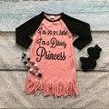 Девушки осень платье новорожденных девочек Я на 99% уверен, что я Disney Princess платье дети Кисточкой платье коралл платье с аксессуарами
